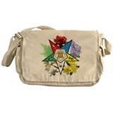 Eastern star floral messanger Messenger Bag