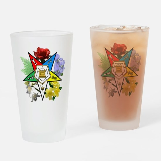 Eastern Star Floral Emblems Drinking Glass