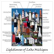 Lighthouses of Lake Michigan Poster