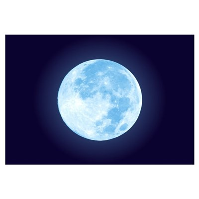 Blue Full Moon Framed Print