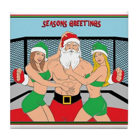MMA Santa & Octagon Girls Tile Coaster