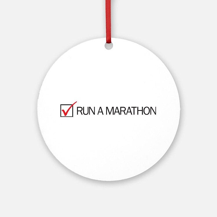 Run a Marathon Check Box Ornament (Round)