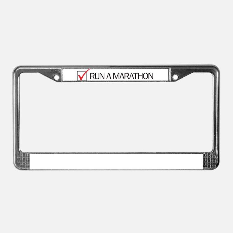 Run a Marathon Check Box License Plate Frame