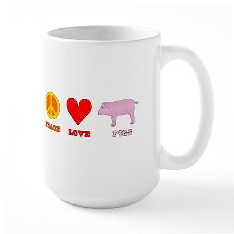 Peace Love Pigs Large Mug