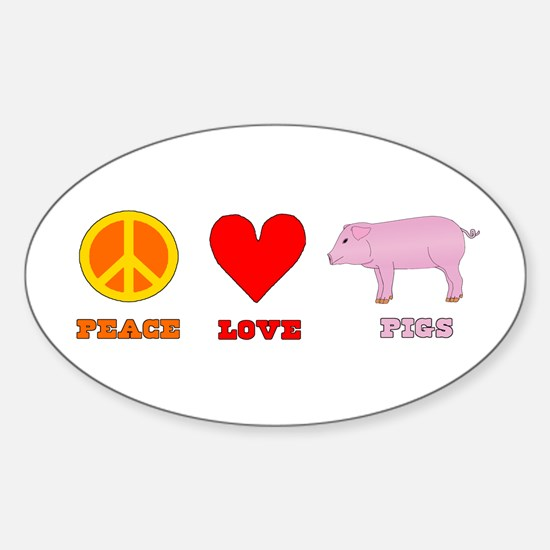 Peace Love Pigs Sticker (Oval)