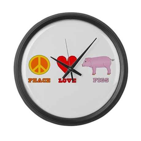 Peace Love Pigs Large Wall Clock