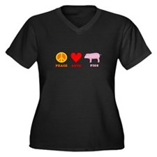 Peace Love Pigs Women's Plus Size V-Neck Dark T-Sh
