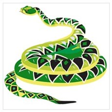 Green Snake Canvas Art