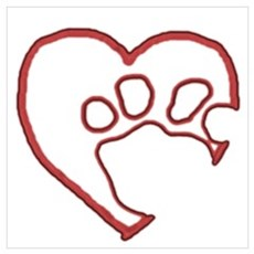 Hollow Paw in Heart Poster