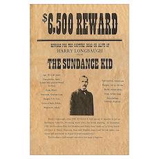 Sundance Kid Wild West Reward Print Poster