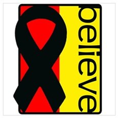 Red and Yellow (Believe) Ribbon Poster