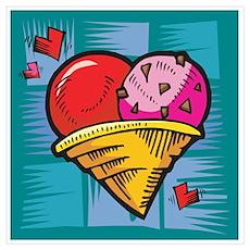Heart Ice Cream Cone Poster