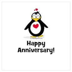 Happy Anniversary Penguin Poster
