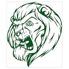 Lion Mascot (Green) Poster