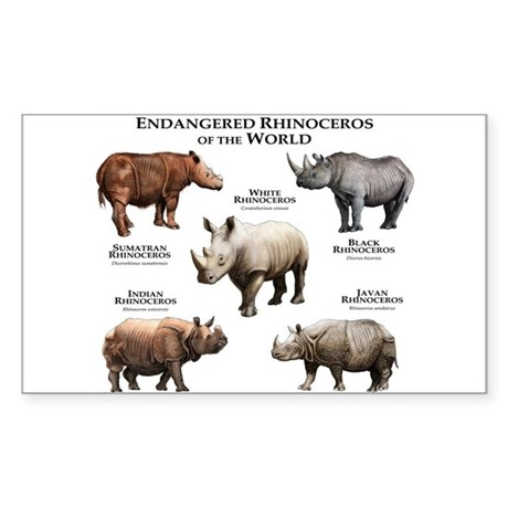 Rhinos of the World Sticker (Rectangle)