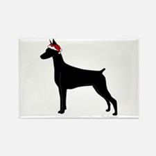 Doberman Santa Rectangle Magnet