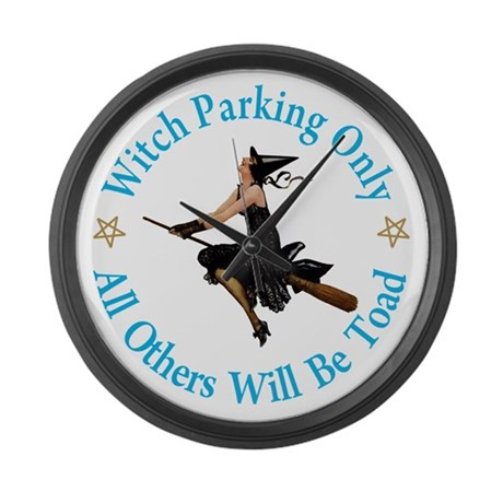 Witch Parking Only Large Wall Clock