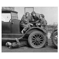 Young Lady Auto Mechanics, 1927 Framed Print