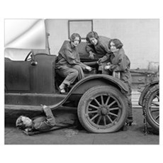 Young Lady Auto Mechanics, 1927 Wall Decal