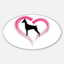 Heart My Doberman Sticker (Oval)