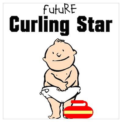 Future Curling Star Framed Nursery Print Poster