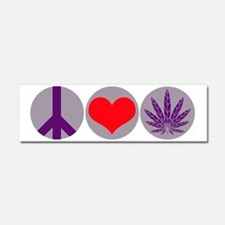 Peace Love Purple Leaf Car Magnet 10 x 3