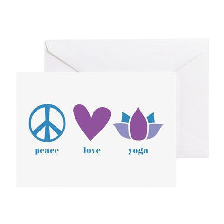 peace, love, yoga Greeting Cards (Pk of 20)