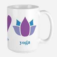 peace, love, yoga Mug