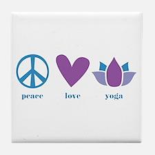 peace, love, yoga Tile Coaster