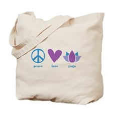 peace, love, yoga Tote Bag