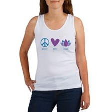 peace, love, yoga Women's Tank Top