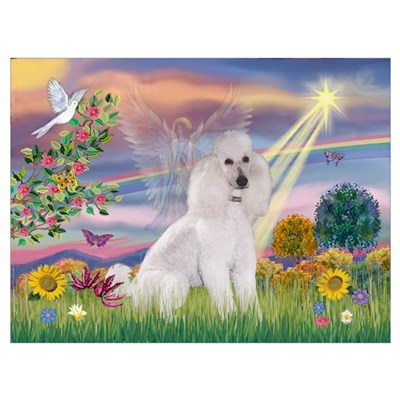Cloud Angel White Poodle Poster
