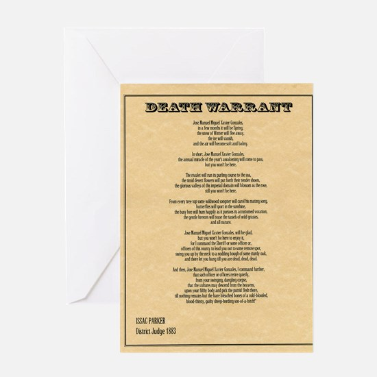 Hanging Judge Death Warrant Greeting Card