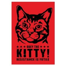 Obey the KITTY! Cat Revolution Framed Print
