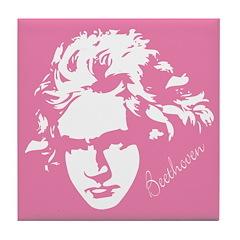 Beethoven Music Pink Tile Coaster