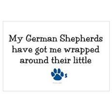 Wrapped Around Their Paws (German Shepherd) Framed Poster