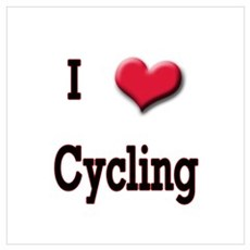 I Love (Heart) Cycling Poster