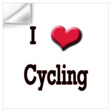 I Love (Heart) Cycling Wall Decal