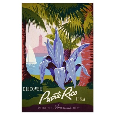 Discover Puerto Rico Travel Print Poster