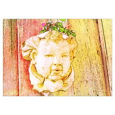 Pink and Gold Garden Cherub Poster
