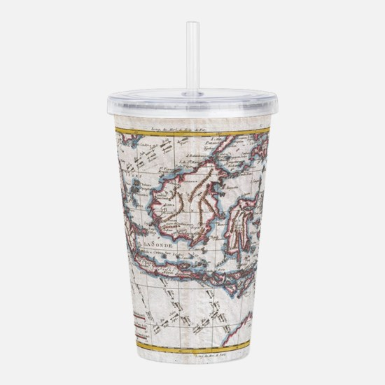 Vintage Map of Indones Acrylic Double-wall Tumbler