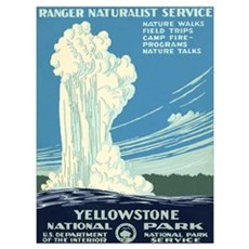 1930s Vintage Yellowstone National Park Framed Pan Canvas Art