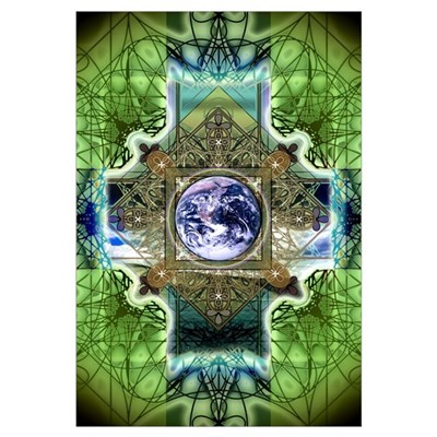 Earth Ascension Peace Mandala Framed Print
