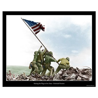 Raising the Flag on Iwo Jima - Colorized (16x20) Poster