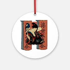 Vintage Japanese Geisha Ornament (Round)