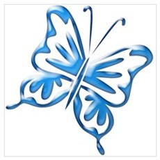 Blue Retro Butterfly Poster