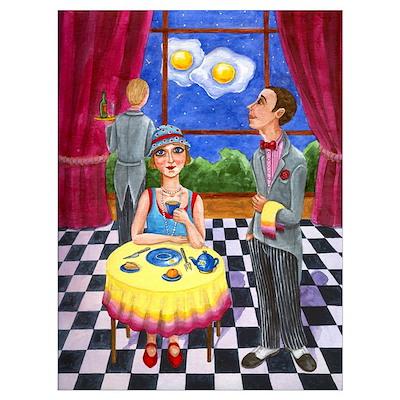Midnight Breakfast Vintage Style art Poster