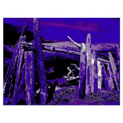 Blue Driftwood Landscape Poster