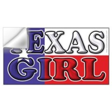 Texas Girl with Flag Wall Decal