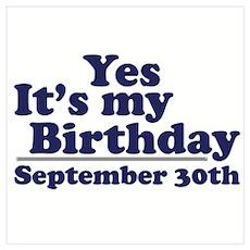 September 30th Birthday Poster